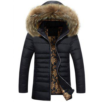 Furry Hood Lengthen Zip Up Down Coat