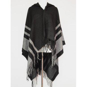 Stripe Fringe Hooded Pashmina