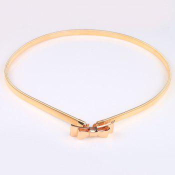 Double Bowknot High Polished Flat Belly Chain - GOLDEN