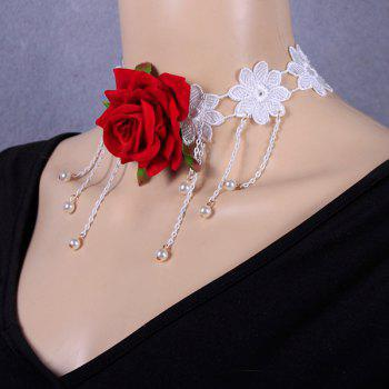 Openwork Tassel Crochet Rose Flower Necklace