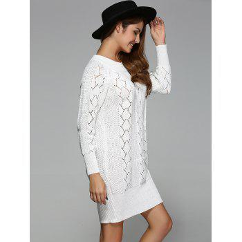 Argyle Openwork Tunic Knitted Long Sleeve Mini Dress - WHITE ONE SIZE