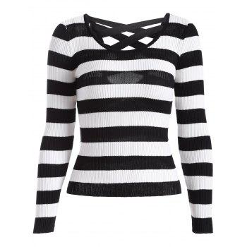Cut Out Stripe Knitwear
