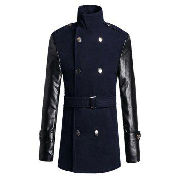 Stand Collar PU Sleeve Wool Blend Trench Coat