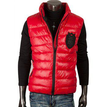 Patch Design Stand Collar Zippered Quilted Waistcoat
