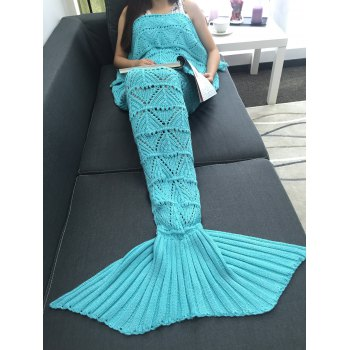 Warmth Geometry Openwork Design Crochet Knitted Mermaid Tail Blanket