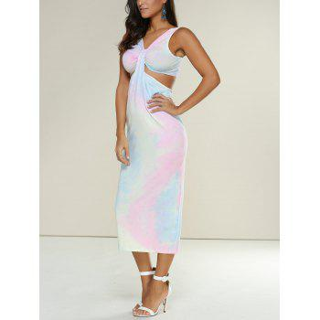 Slimming Tie-Dyed Hollow Out Midi Dress