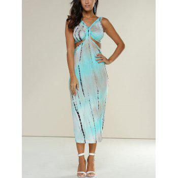 Tie-Dyed Snake Print Cut Out Midi Dress