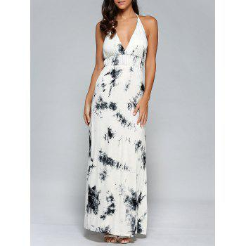 Tie-Dyed Open Back Halter Maxi Dress