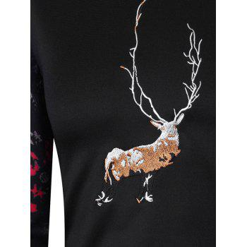Elk Embroidered Long Sleeve Sweatshirt - BLACK L