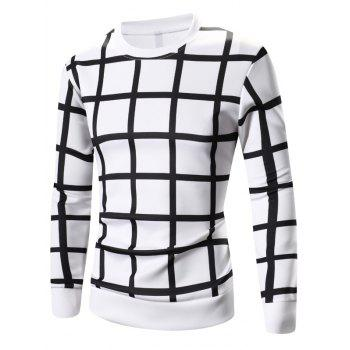 Long Sleeve Grid Printed Sweatshirt