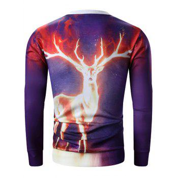 Long Sleeve 3D Flame Elk Print Sweatshirt - PURPLE XL