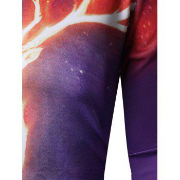 Long Sleeve 3D Flame Elk Print Sweatshirt - Pourpre M