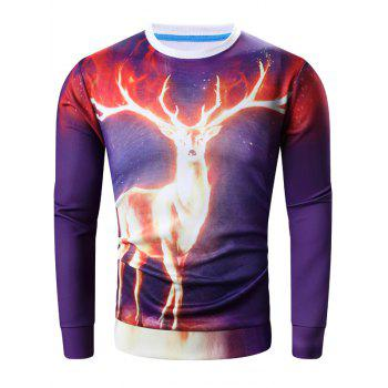 Long Sleeve 3D Flame Elk Print Sweatshirt
