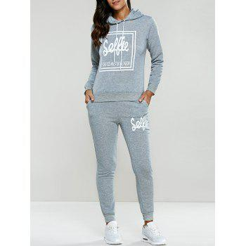 Letter Print Drawstring Hoodie Tracksuit