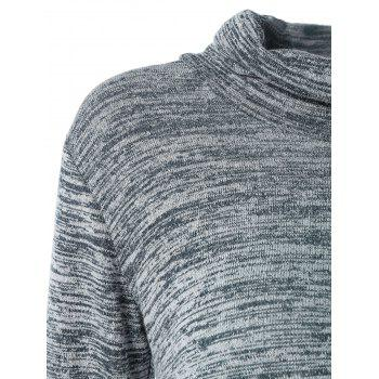 Turtleneck Asymmetric Knitted Tunic Dress - GRAY XL
