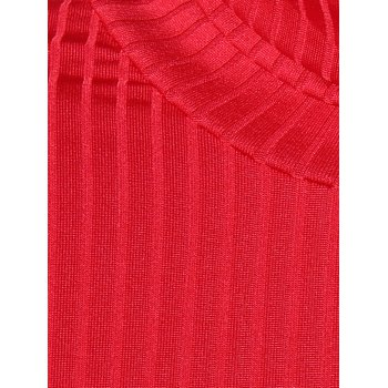 Knit Turtleneck Ribbed Fitted Sweater Dress - RED M