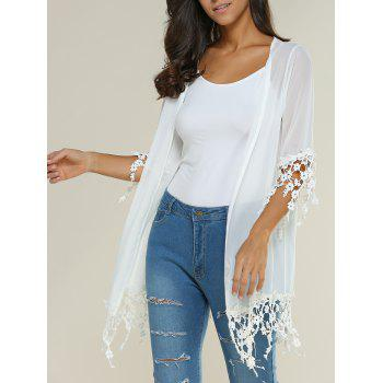 Crochet Lace Insert See-Through Kimono