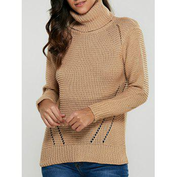 Turtleneck Hollow Out Pullover Sweater