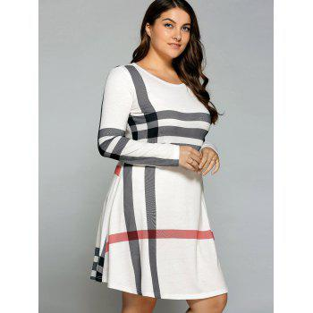 Casual Plus Size Striped Long Sleeve T-Shirt Dress, OFF WHITE, XL ...