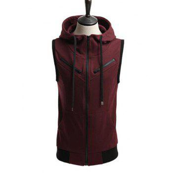 Drawstring Contrast Trim Zippered Sleeveless Hoodie