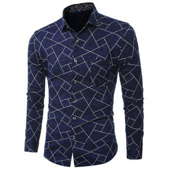 Geometric Print Plus Size Turn-Down Collar Long Sleeve Shirt