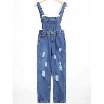 Removable Ripped Denim Overalls
