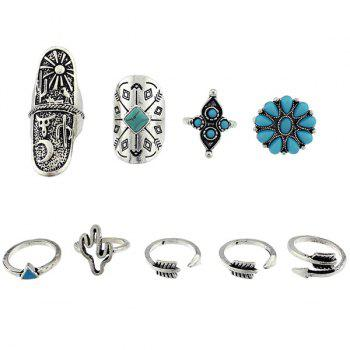 Triangle Cactus Engraved Sun Moon Ring Set