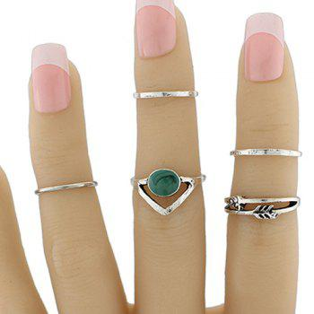 Geometric Love Arrow Faux Gem Ring Set