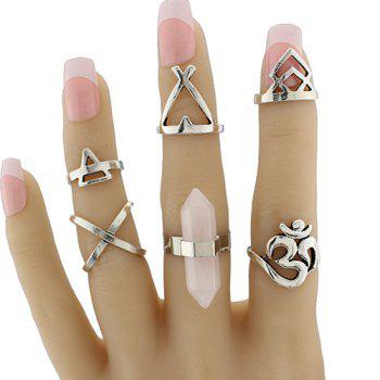 Natural Stone Heart Geometric Ring Set