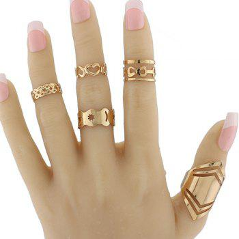 Heart Infinite Geometric Pentagram Ring Set