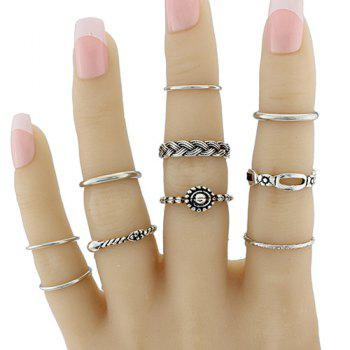 Braid Circle Geometric Jewelry Ring Set