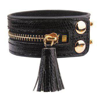 Fringe Zip Faux Leather Bracelet