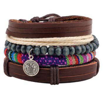 Coin Beads Faux Leather Wrap Bracelets