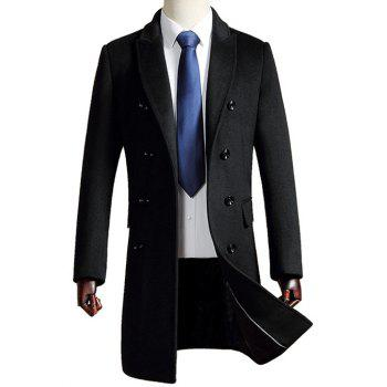 Woolen Blend Turn Down Collar Coat