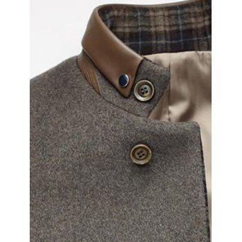 Stand Collar Plaid Printed Woolen Blend Coat - GRAY M