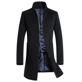 Buy Side Pocket Stand Collar Woolen Blend Coat