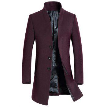 Buy Side Pocket Stand Collar Woolen Blend Coat WINE RED