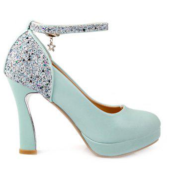 Ankle Strap Sequin Chunky Heel Pumps - BLUE 38