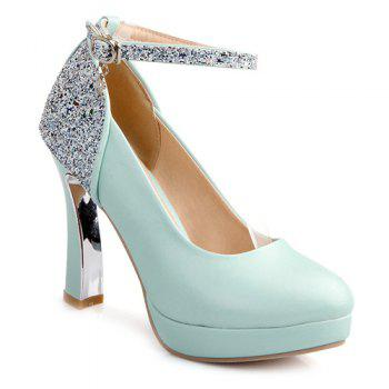 Ankle Strap Sequin Chunky Heel Pumps