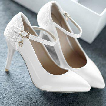 Patent Leather Pointed Toe Sequin Pumps - WHITE 43
