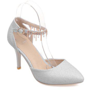 Pointed Toe Two-Piece Pendant Sequin Pumps