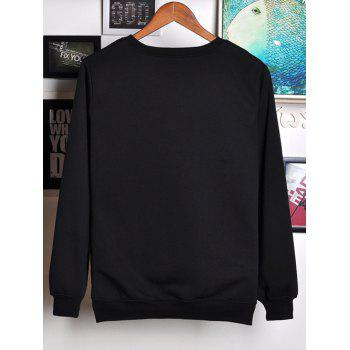 1980 Astronaut Printed Round Neck Sweatshirt - BLACK 2XL
