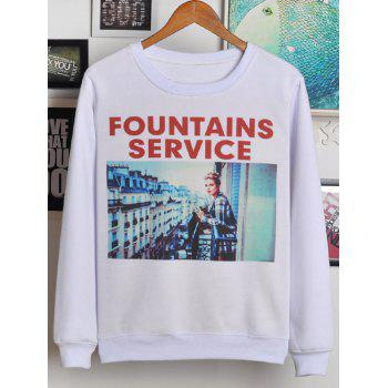 Round Neck Letter and Scenery Print Sweatshirt