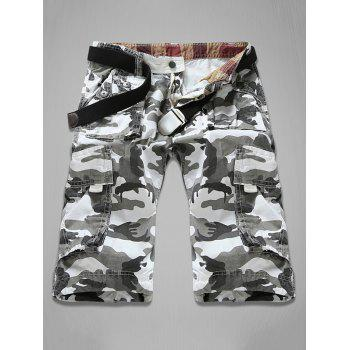 Multi-Pocket Zipper Fly Camouflage Cargo Shorts