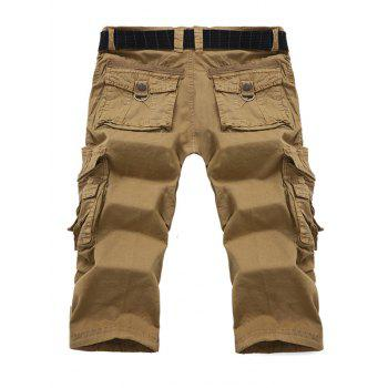Multi-poche design Zipper Fly Cargo Shorts - Kaki 32