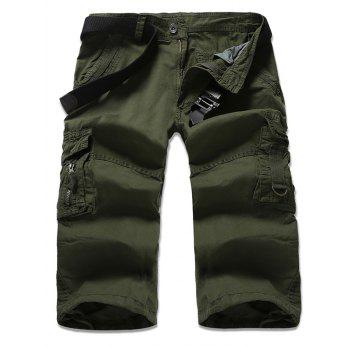 Multi-Pocket Design Zipper Fly Cropped Cargo Pants