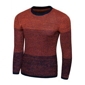 Long Sleeve Color Striped Crew Neck Sweater