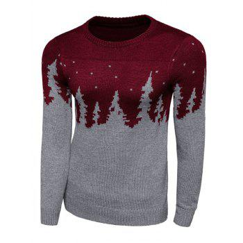 Long Sleeve Forest Pattern Crew Neck Sweater