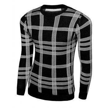 Plaid Pullover Crew Neck Knitwear