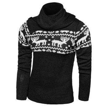 Long Sleeve Button Scraf Collar Christmas Sweater
